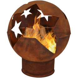 Sunnydaze Starry Night Rustic Fire Pit Bowl, 32-Inch Diameter
