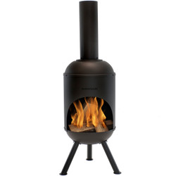 Sunnydaze Outdoor 5-Foot Black Chiminea Wood-Burning Fire Pit