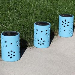 Sunnydaze Blue Ceramic Jar Style Solar Light with Flower Cutouts and White LED Bulbs, Set of 3