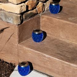 Sunnydaze Crystal Blue Glass Jar Solar Light with White LED Light, Set of 3