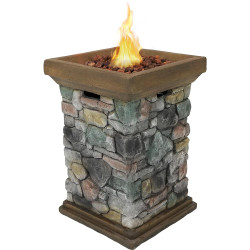 Sunnydaze Outdoor 30-Inch Tall Cast Rock Column Design Propane Gas Fire Pit