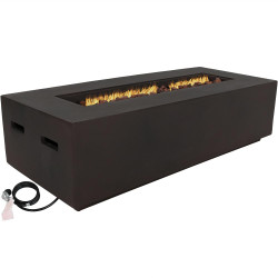 Sunnydaze 56-Inch Brown Modern Rectangular Liquid Propane Gas Fire Pit Coffee Table with Lava Rocks