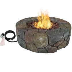 Sunnydaze Outdoor 30-Inch Cast Stone Propane Gas Fire Pit with Lava Rocks