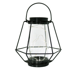 Sunnydaze 9-Inch Outdoor Diamond Design Caged Solar Lantern with 10 Warm White LED Lights