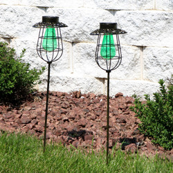 Sunnydaze Outdoor Caged Solar Stake Light with LED String Lights and Glass Vintage Style Bulb, Set of 2