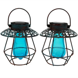 Sunnydaze Outdoor Caged Solar Lantern with LED String Lights and Glass Vintage Style Bulb, Set of 2