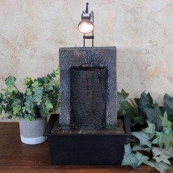 Sunnydaze Ancient Garden Wall Tabletop Water Fountain with LED Spotlight, 16-Inch Tall