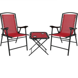 Red Outdoor Suspension Folding Patio Chairs with Side Table