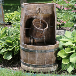 Sunnydaze Outdoor Water Bucket and Barrel Garden Fountain with Submersible Electric Pump, 28-Inch