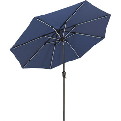 Sunnydaze 9-Foot Aluminum Spun-Poly Market Umbrella with Push-Button Tilt and Crank and Solar LED Light Bars