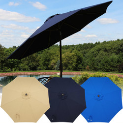 Sunnydaze 9-Foot Aluminum Sunbrella Market Umbrella with Auto Tilt and Crank