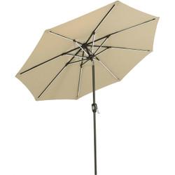 Sunnydaze 9-Foot Aluminum Sunbrella Market Umbrella with Push-Button Tilt and Crank and Solar LED Light Bars