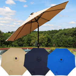 Sunnydaze 9-Foot Solar Powered Sunbrella Market Umbrella with Push-Button Tilt and Crank and LED Light Bars