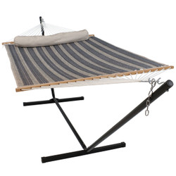 Sunnydaze 2 Person Freestanding Quilted Fabric Spreader Bar Hammock, Choose from 12 or 15 Foot Stand, Mountainside