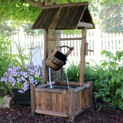 Sunnydaze Rustic Wood Wishing Well Outdoor Fountain with Liner, 46-Inch Tall
