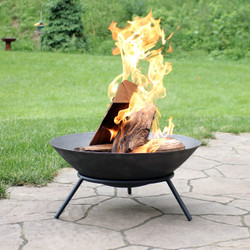 Sunnydaze Raised Cast Iron Fire Pit Bowl with Steel Finish, 22-Inch Diameter