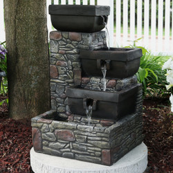 Delicieux Sunnydaze 4 Tier Stacked Stone Square Bowls Outdoor Water Fountain With LED  Lights, 22 Inch Tall