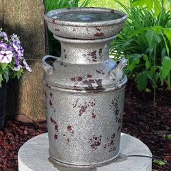 Sunnydaze Farmhouse Vintage Milk Can Birdbath Outdoor Fountain with LED Light, 20-Inch Tall