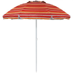 Sunnydaze 6-Foot Striped Vented Beach Umbrella with Tilt Function and UV 50 Sun Protection