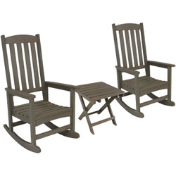 Sunnydaze 3-Piece All-Weather Patio Furniture Set, 2 Rocking Chairs and 1 Folding Side Table