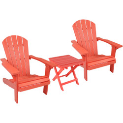 Sunnydaze 3-Piece All-Weather Adirondack Patio Set, 2 Chairs with Side Table
