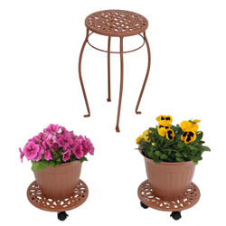 Sunnydaze Cast Iron Planters, Plant Stand and Caddies with Wheels Set, Multiple Color Options