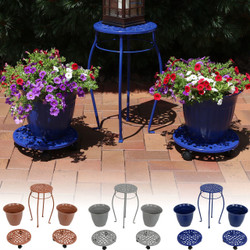 Cast Iron Planters, Plant Stand and Caddies with Wheels Set