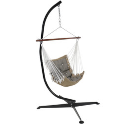Sunnydaze Tufted Victorian Hammock Swing and C-Stand Combo for Indoor or Outdoor Use, 300-Pound Weight Capacity