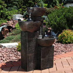 Sunnydaze 3-Tier Burning Bowls Outdoor Fire and Water Fountain, 34-Inch