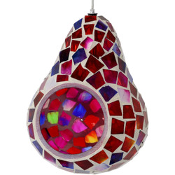 Sunnydaze Ruby Mosaic Glass Outdoor Hanging Bird Feeder, 6-Inch