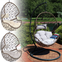Sunnydaze Danielle Hanging Egg Chair with Steel Stand Set, Resin Wicker Basket Design Chair, Indoor or Outdoor Use, Includes Cushion