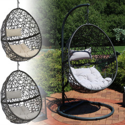 Sunnydaze Caroline Hanging Egg Chair with Steel Stand Set, Resin Wicker, Modern Design, Indoor or Outdoor Use, Includes Cushion