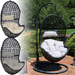 Sunnydaze Cordelia Hanging Egg Chair with Steel Stand Set, Resin Wicker, Large Basket Design, Indoor or Outdoor Use, Includes Cushion