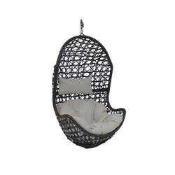 Sunnydaze Cordelia Hanging Egg Chair, Resin Wicker, Large Basket Design, Indoor or Outdoor Use, Includes Cushion