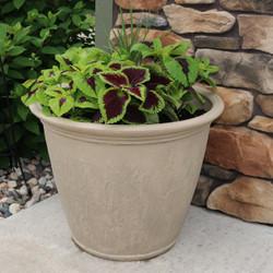 Sunnydaze Anjelica Indoor/Outdoor Planter Pot, Pebble Grey Finish, 24-Inch Diameter