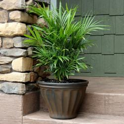 Sunnydaze Charlotte Indoor and Outdoor Resin Planter, Rust Finish, 16-Inch Diameter