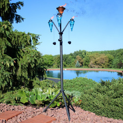 Sunnydaze Multi-Arm Outdoor Torch Stand, 71-Inch Tall