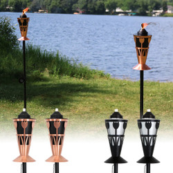 Steel Outdoor Torch with Tulip Design
