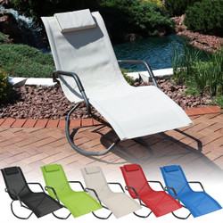 Sunnydaze Outdoor Folding Rocking Chaise Lounge Chair with Headrest Pillow