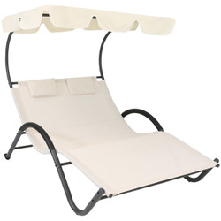 Sunnydaze Double Chaise Lounge with Canopy and Headrest Pillows, Beige