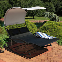 Sunnydaze Double Chaise Rocking Lounge Chair with Canopy and Headrest Pillows, Black