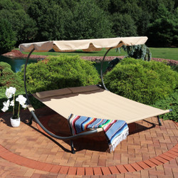 Sunnydaze Double Modern Outdoor Lounging Bed with Canopy and Headrest Pillows, Beige