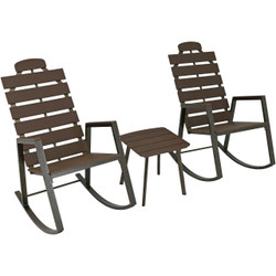 Sunnydaze All-Weather Faux Wood Design Slatted Rocking Chair and Side Table 3-Piece Set