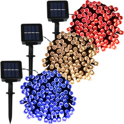 Sunnydaze 3-Strand Set of Patriotic Solar Powered LED String Lights