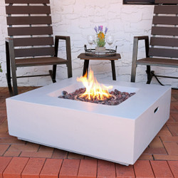 Sunnydaze Contempo Square Outdoor Propane Gas Fire Pit, 34-Inch