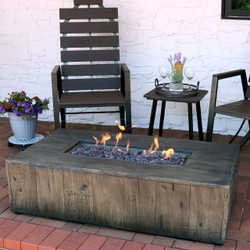 Sunnydaze Rustic Faux Wood Outdoor Propane Gas Fire Pit Coffee Table, 48-Inch
