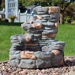 Sunnydaze 4-Tier Ledgestone Outdoor Waterfall Fountain, 29-Inch Tall