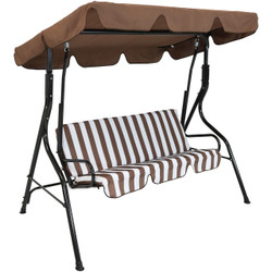 3-Person Steel Frame Adjustable Canopy Patio Swing with Striped Seat Cushion, Brown