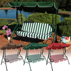 Sunnydaze 3-Person Steel Frame Adjustable Canopy Patio Swing with Striped Seat Cushion, Multiple Color Options Available
