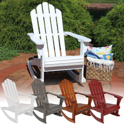 Sunnydaze Outdoor Wooden Adirondack Rocking Chair, Multiple Color Options Available